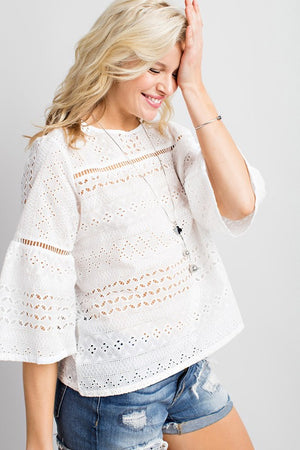 THE SUNNY DAYS EYELET TOP - WHITE