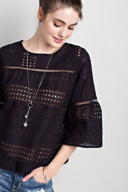 THE SUNNY DAYS EYELET TOP - BLACK
