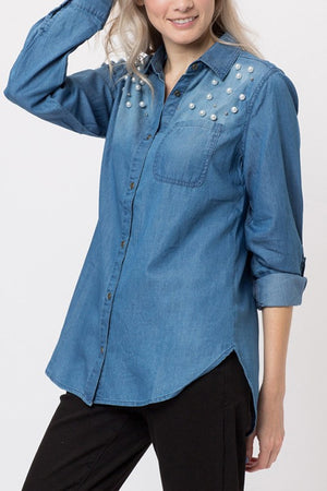 THE LAMBERT PEARL DETAIL SHIRT
