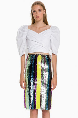 THE RAINBOW SEQUIN MIDI SKIRT