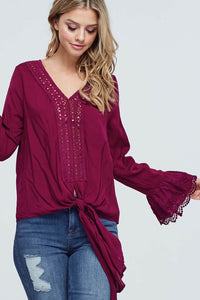 THE LEXI BLOUSE - BURGUNDY