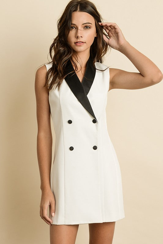 THE SUSSEX TUXEDO DRESS - OFF WHITE