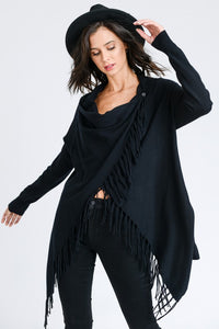 THE NOELLE FRINGE WRAP KNIT - BLACK