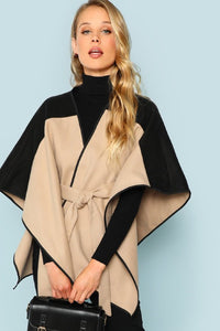 THE MORGANA WAIST TIE PONCHO CARDIGAN
