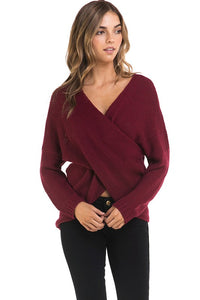 THE ESSENTIAL EDIT WRAP STYLE KNIT - BURGUNDY