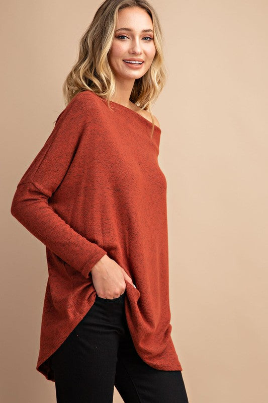 THE ESSENTIAL OFF-THE-SHOULDER TOP - BRICK