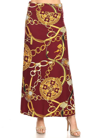 THE OUTSIDE REIN CHAIN PRINT MAXI SKIRT
