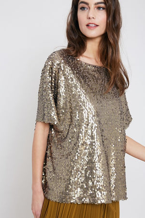 THE FLUTTER BY SEQUIN TOP - BRONZE