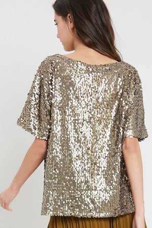 THE FLUTTER BY SEQUIN TOP - BLACK