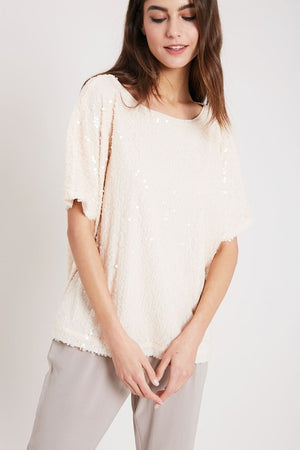THE FLUTTER BY SEQUIN TOP - BLUSH