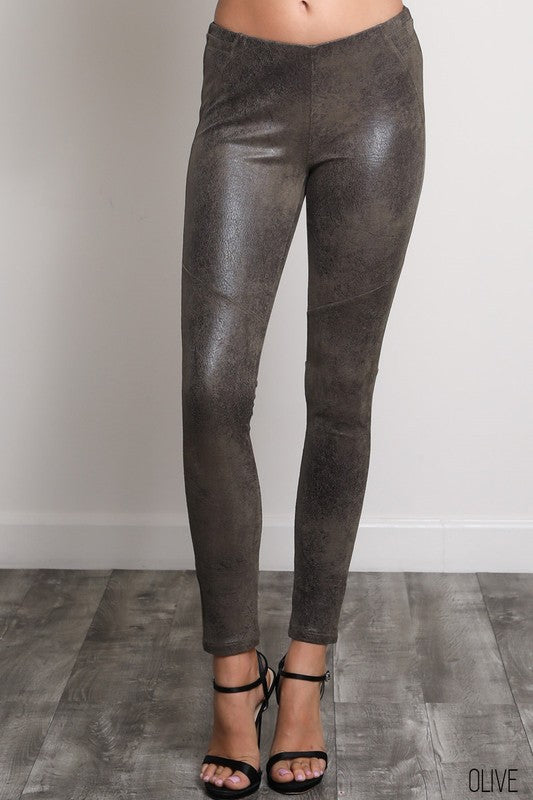THE VERDI SUEDETTE LEGGINGS - OLIVE