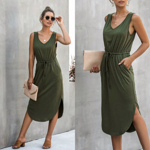 THE PERFECT MIDI TANK DRESS - OLIVE