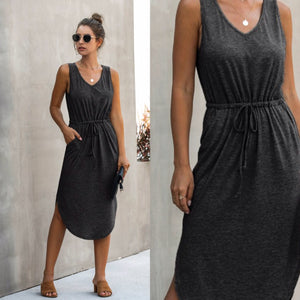 THE PERFECT MIDI TANK DRESS - BLACK