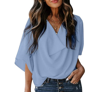 THE JOURNEY DRAPED TOP - SKY BLUE