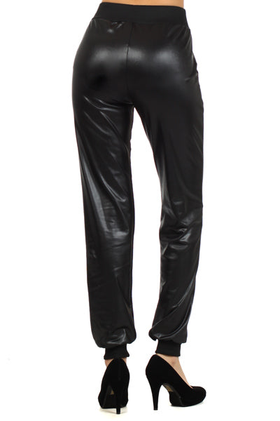 THE MAKE IT COUNT LEATHER LOOK JOGGERS