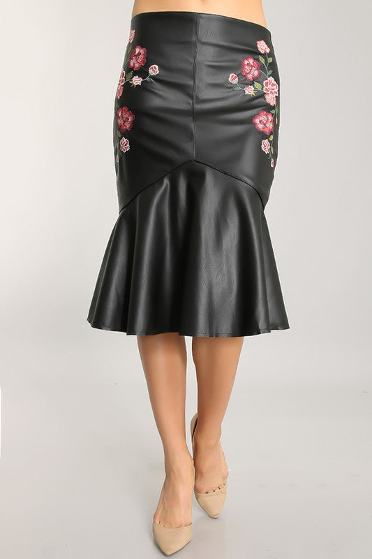 THE FLEUR DE CUIR LEATHER LOOK SKIRT