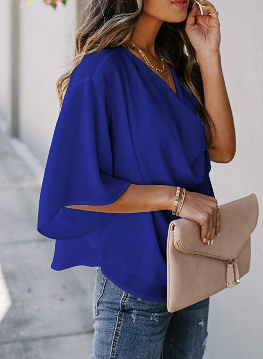 THE JOURNEY DRAPED TOP - COBALT