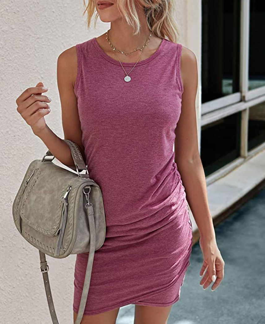 THE ESSENTIAL TANK DRESS - WINE RED
