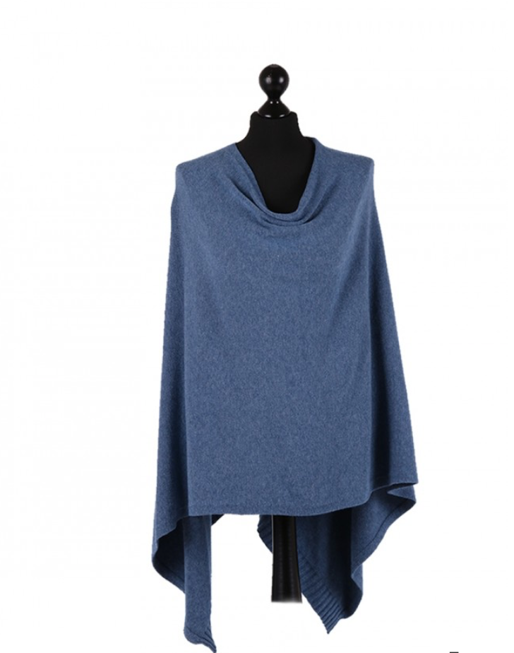 THE ESSENTIAL ITALIAN DROP NECK PONCHO - AIR FORCE BLUE