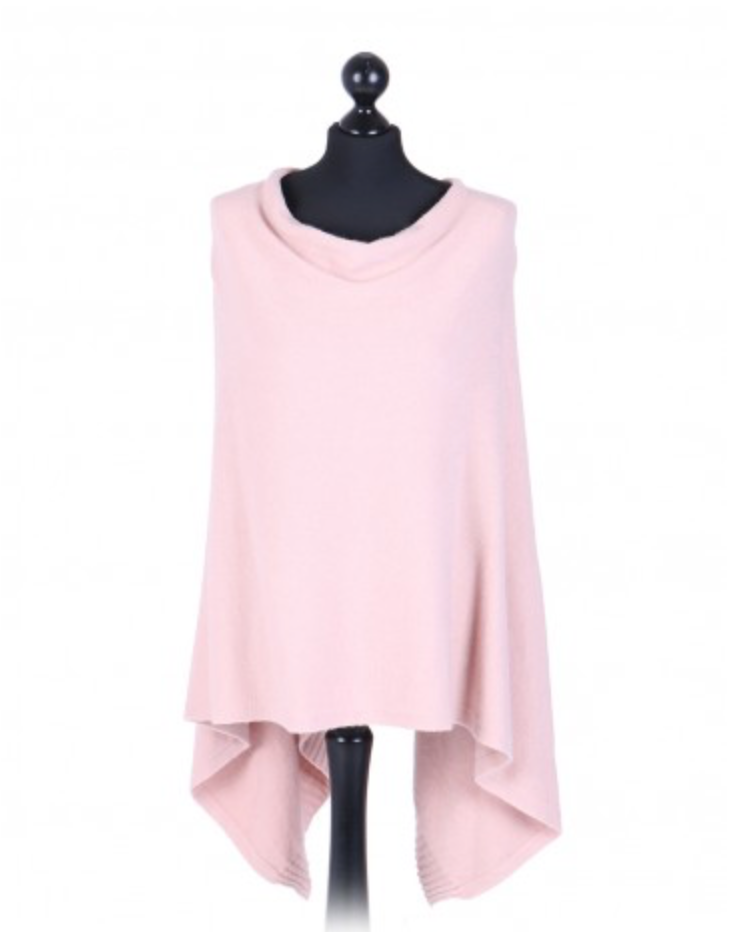 THE ESSENTIAL ITALIAN DROP NECK PONCHO - BLUSH