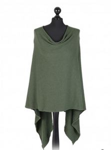THE ESSENTIAL ITALIAN DROP NECK PONCHO - KHAKI