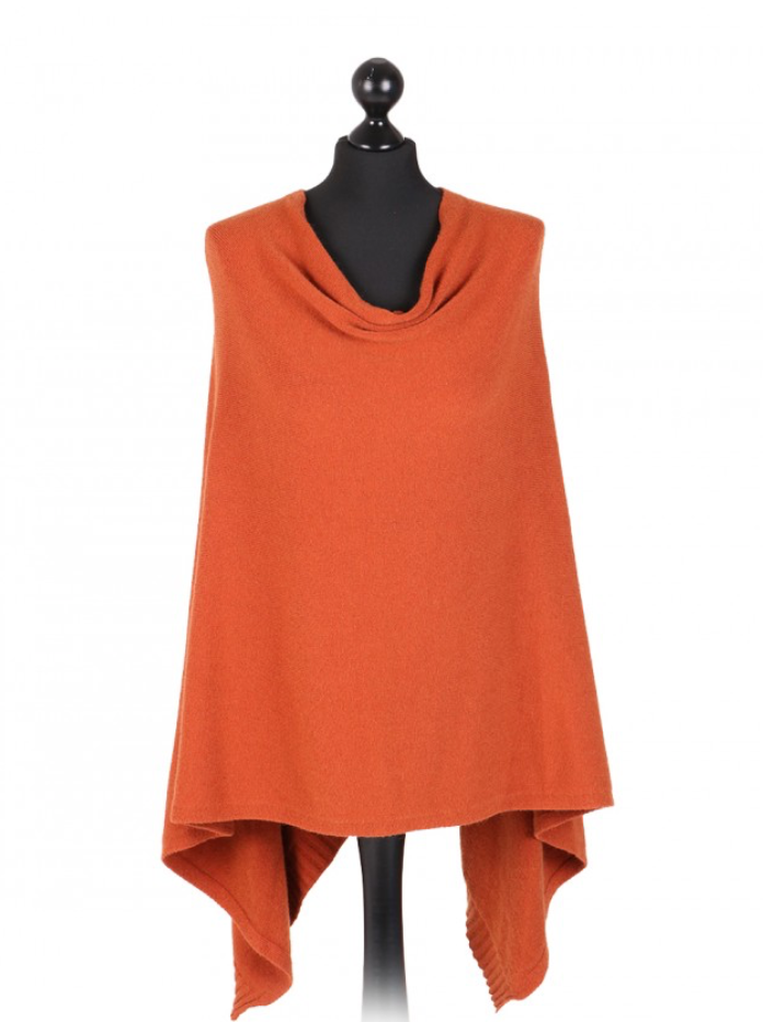 THE ESSENTIAL ITALIAN DROP NECK PONCHO - RUST