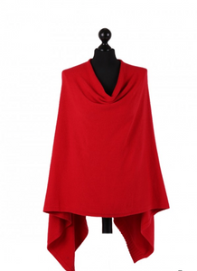THE ESSENTIAL ITALIAN DROP NECK PONCHO - RED