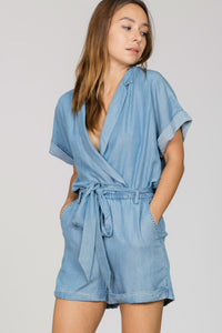 THE ESSENTIAL TENCEL DENIM ROMPER