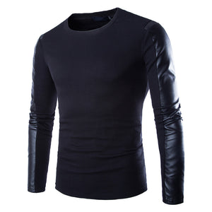 LETHAL Leather Sleeve Sweater