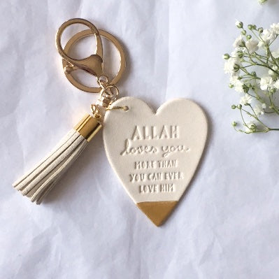 SALE 'Allah Loves You' WHITE LEATHER Keyring with Suede Tassel – Choice of Colours