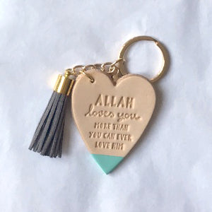 SALE 'Allah Loves You' NATURAL LEATHER Keyring with Suede Tassel  – Choice of Colours