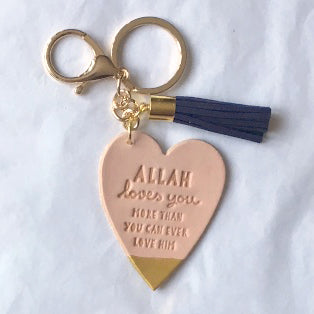 SALE 'Allah Loves You' BLUSH LEATHER Keyring with Suede Tassel – Choice of Colours