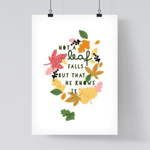 Quran Quote Falling Leaves Print