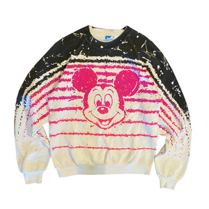 Mickey Splash Stripes Crewneck - S/M - VTG 80s