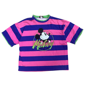 Mickey Stripes Tee - L/XL - VTG 90s