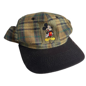 Mickey Plaid Hat Tan - VTG 90s