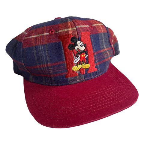 Mickey Plaid Hat Red/Blue - VTG 90s