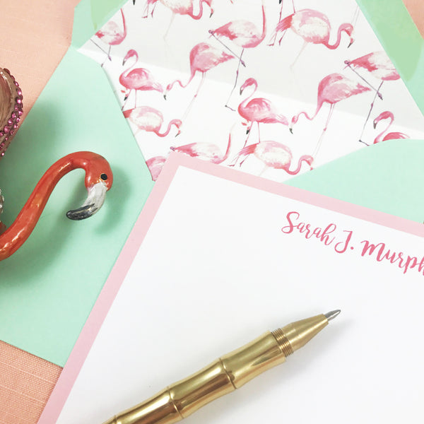 Pink Flamingo Tropical Stationery Set
