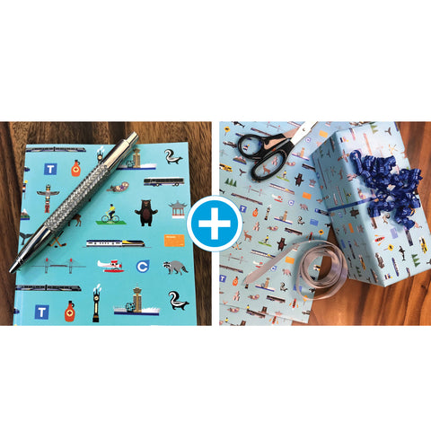 Icon Note Book & Wrapping Paper Bundle