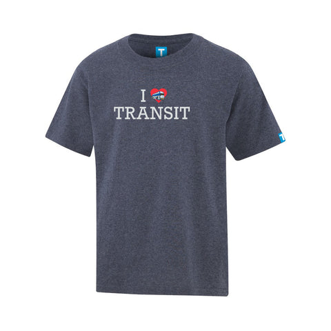 """I Love Transit"" T-Shirt, Youth-Heather Navy"