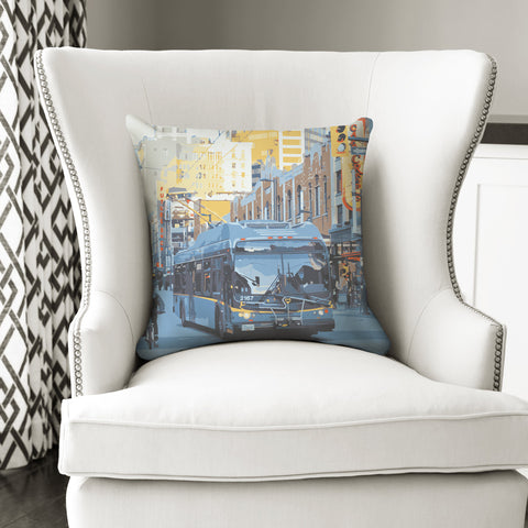 Bus Art Throw Pillow