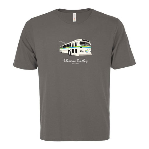 Vintage Electric Trolley Bus T-Shirt, Men's-Coal Grey