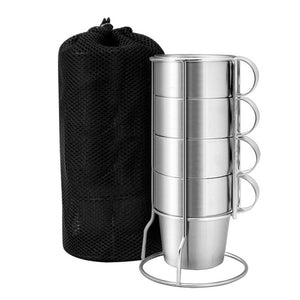 4 Piece Stainless Steel Double-Layer Coffee Cups w/ Stand and Mesh Bag