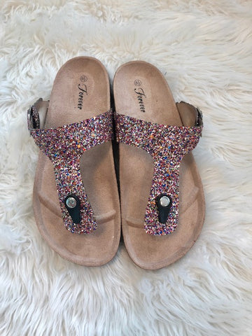 Multi Color Glitter Sandals