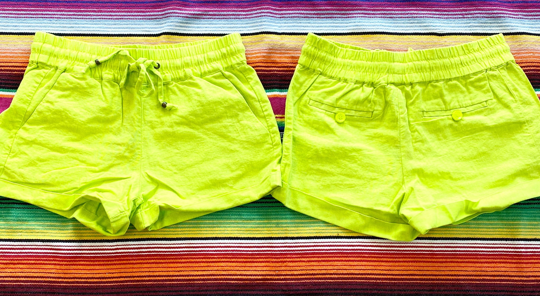 Neon yellow linen shorts
