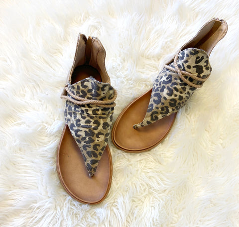 Leopard gypsy sandals