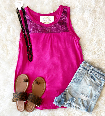 Pink sequin tank top