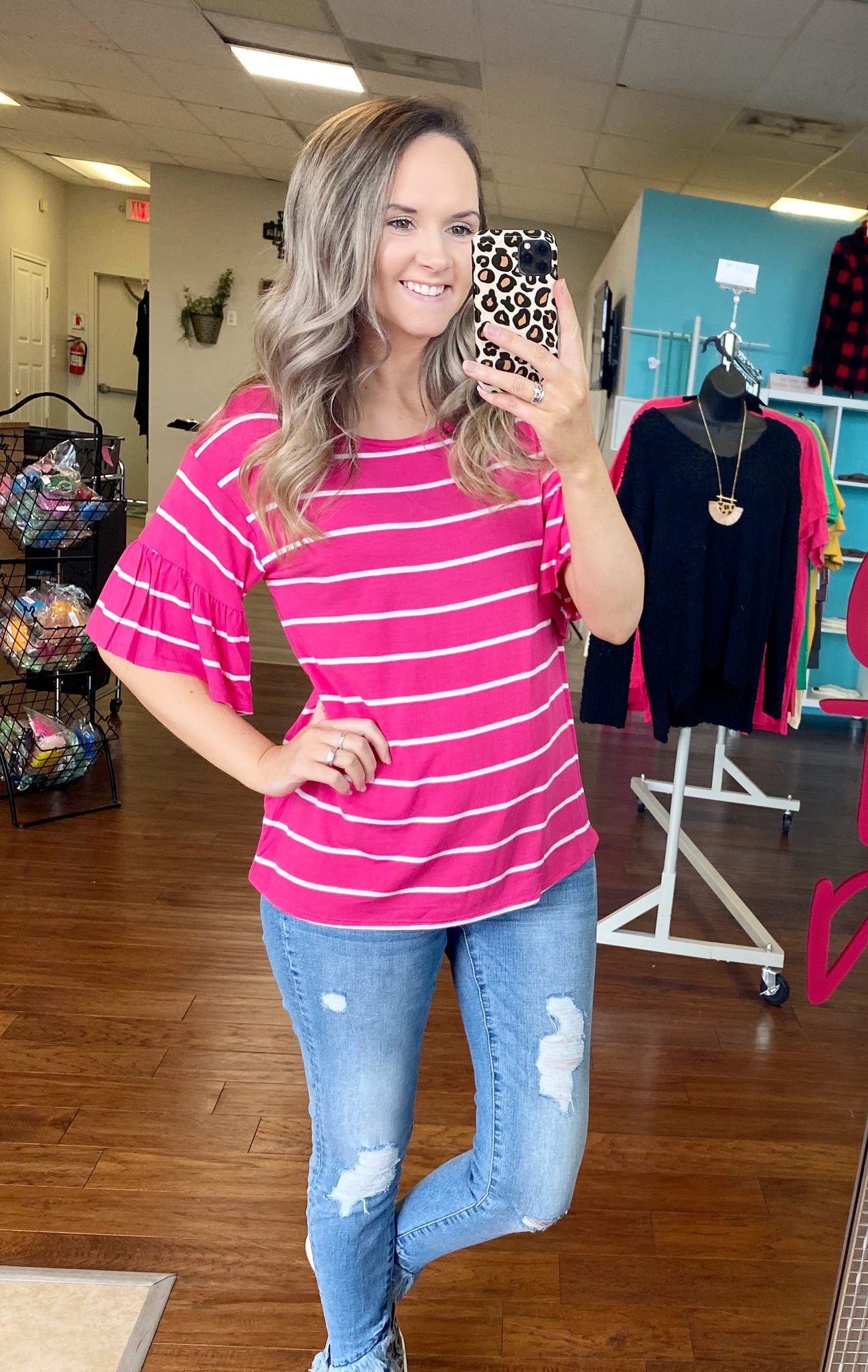 Fuchsia striped top with bell sleeves