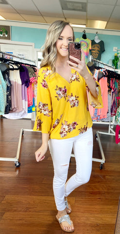 Yellow on a whim top
