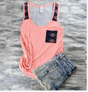 Neon pink Aztec and arrows tank top
